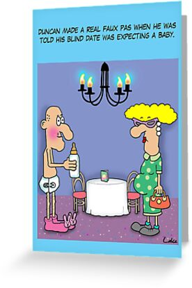 Funny Blind Date Cartoon Greeting Cards By Partypeepsfun Redbubble