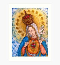 Immaculate Heart Of Virgin Mary Drawing Art Print