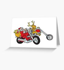 Santa and his reindeer is coming to town on their motorcycle's Greeting Card