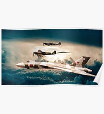 Vulcan and Spitfires in formation Poster