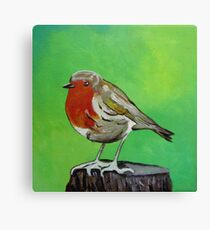 Young robin perched on a tree stump acrylic painting Canvas Print