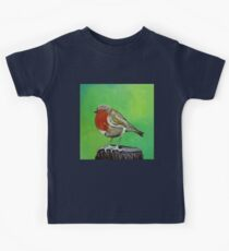 Young robin perched on a tree stump acrylic painting Kids Clothes