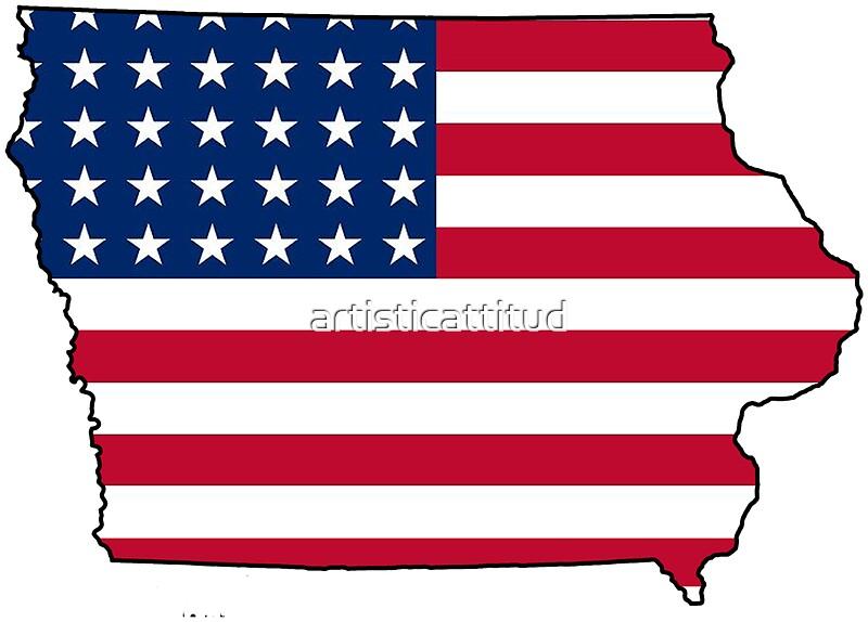 american flag iowa outline by artisticattitud