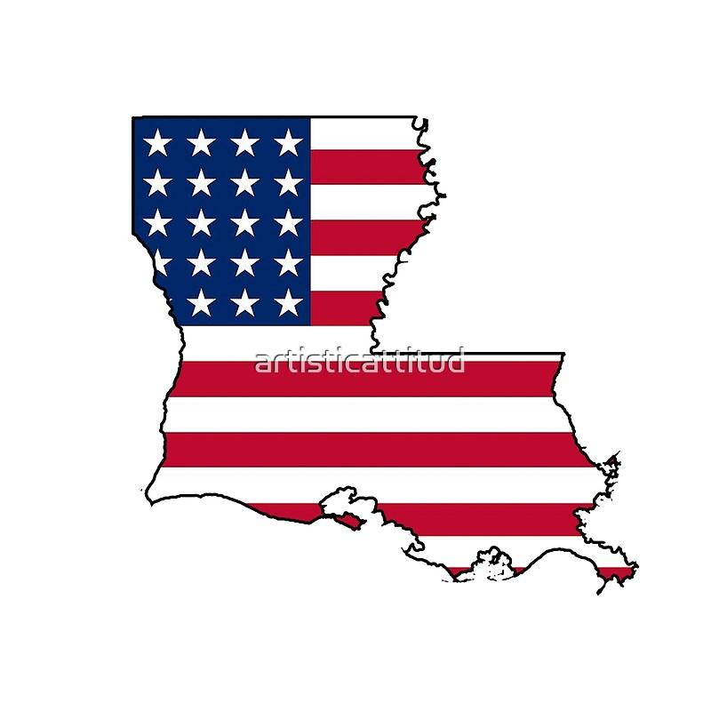 american flag louisiana outline by artisticattitud