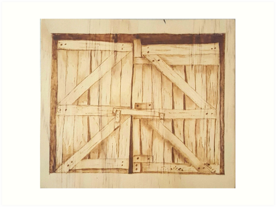 The Old Barn Doors   Original Pyrography By Styro