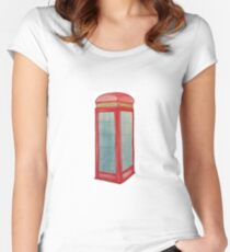 London Phone Box Watercolour  Women's Fitted Scoop T-Shirt
