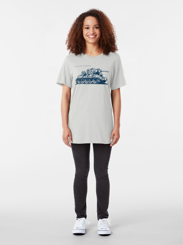 Alternate view of T-34 Russian Caravan Slim Fit T-Shirt
