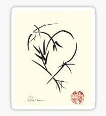 Kyuzo - Sumie ink brush black heart painting Sticker
