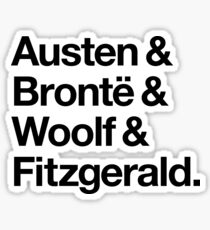 Classic Literature Authors - Black Helvetica (Austen and Bronte and Woolf and Fitzgerald) Sticker