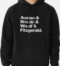 Classic Literature Authors - White Helvetica (Austen and Bronte and Woolf and Fitzgerald) Pullover Hoodie