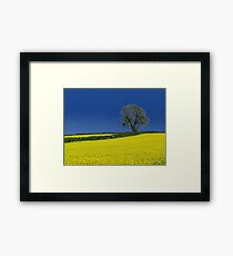 Oak Tree Landscape ( Blue ) Framed Print