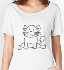 seated sweet cute kitten fluffy fur Women's Relaxed Fit T-Shirt