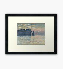Claude Monet - The Cliff, Étretat,  Sunset  Impressionism Framed Print