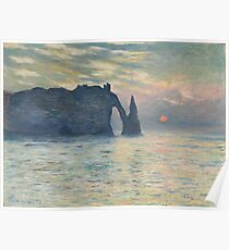 Claude Monet - The Cliff, Étretat,  Sunset  Impressionism Poster