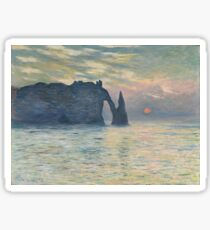 Claude Monet - The Cliff, Étretat,  Sunset  Impressionism Sticker