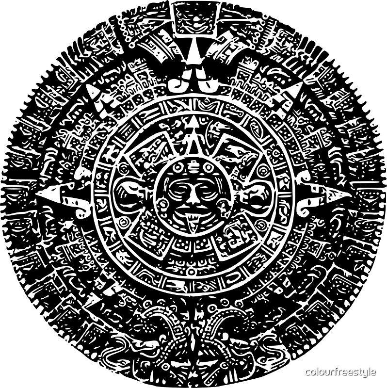 Mexican Mayan Calender The Aztec Sun Stone Stickers By