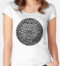 Mexican Mayan Calender the Aztec Sun Stone Women's Fitted Scoop T-Shirt
