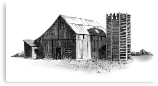 Old Barn And Wooden Silo Pencil Drawing Farm Country By Joyce Geleynse