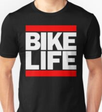 Run Bike Life DMC Style Moped Bikelife Motorcycle Gang Red & White Logo T-Shirt