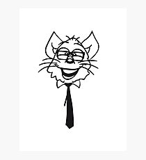 face head nerd geek hornbrille tie clever funny Photographic Print