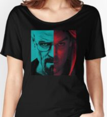 HEISENBERG VS DEXTER Walter White Breaking Bad and Dexter Face Mash Up Women's Relaxed Fit T-Shirt
