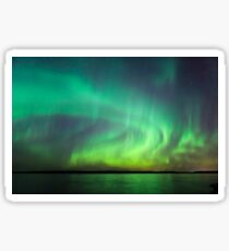 Northern lights over lake in Finland Sticker