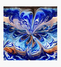 Blue And Abstract Flower  Photographic Print