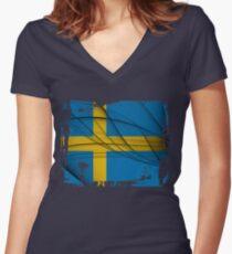 Sweden Flag Women's Fitted V-Neck T-Shirt