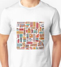 Seamless pattern background of cartoon city T-Shirt