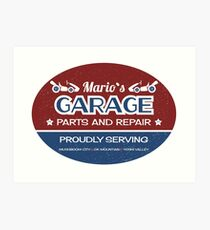 Mario's Garage Art Print