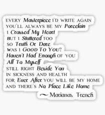 Marianas Trench Songs Sticker
