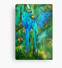Tropic Spirits - Gold and Blue Macaws Metal Print