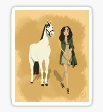 The girl with a horse Sticker
