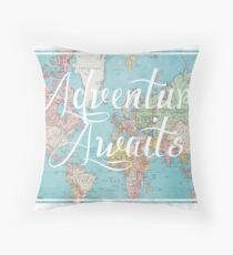 Adventure Awaits World Map Throw Pillow