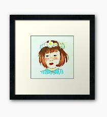 girl with flower crown Framed Print