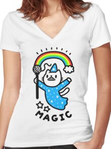 Magical Wizard Cat Women's Fitted V-Neck T-Shirt