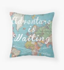 Adventure is Waiting World Map Throw Pillow
