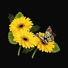 Daisy Floral Buttefly Art by Delights