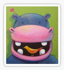 Hippo loves birds Sticker