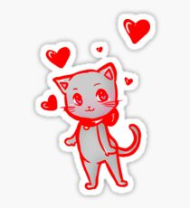 Valentine's Day Cat Sticker
