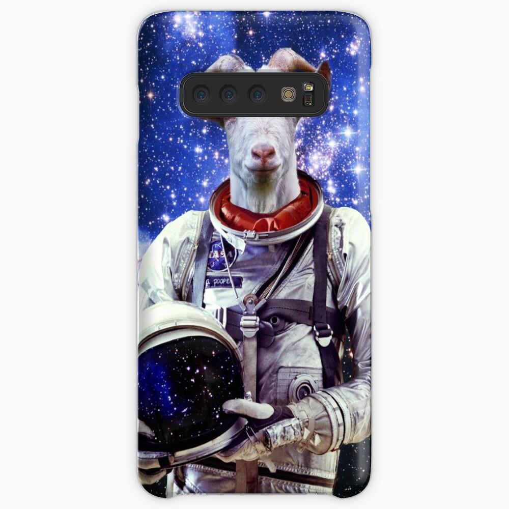 Ziege Astronaut im Weltraum Hülle & Klebefolie für Samsung Galaxy