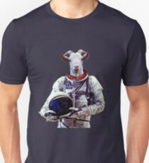 Goat Astronaut In Space Slim Fit T-Shirt