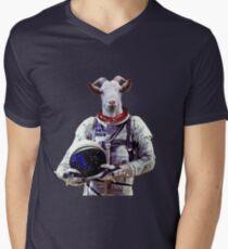Camiseta para hombre de cuello en v Astronauta de cabra en el espacio