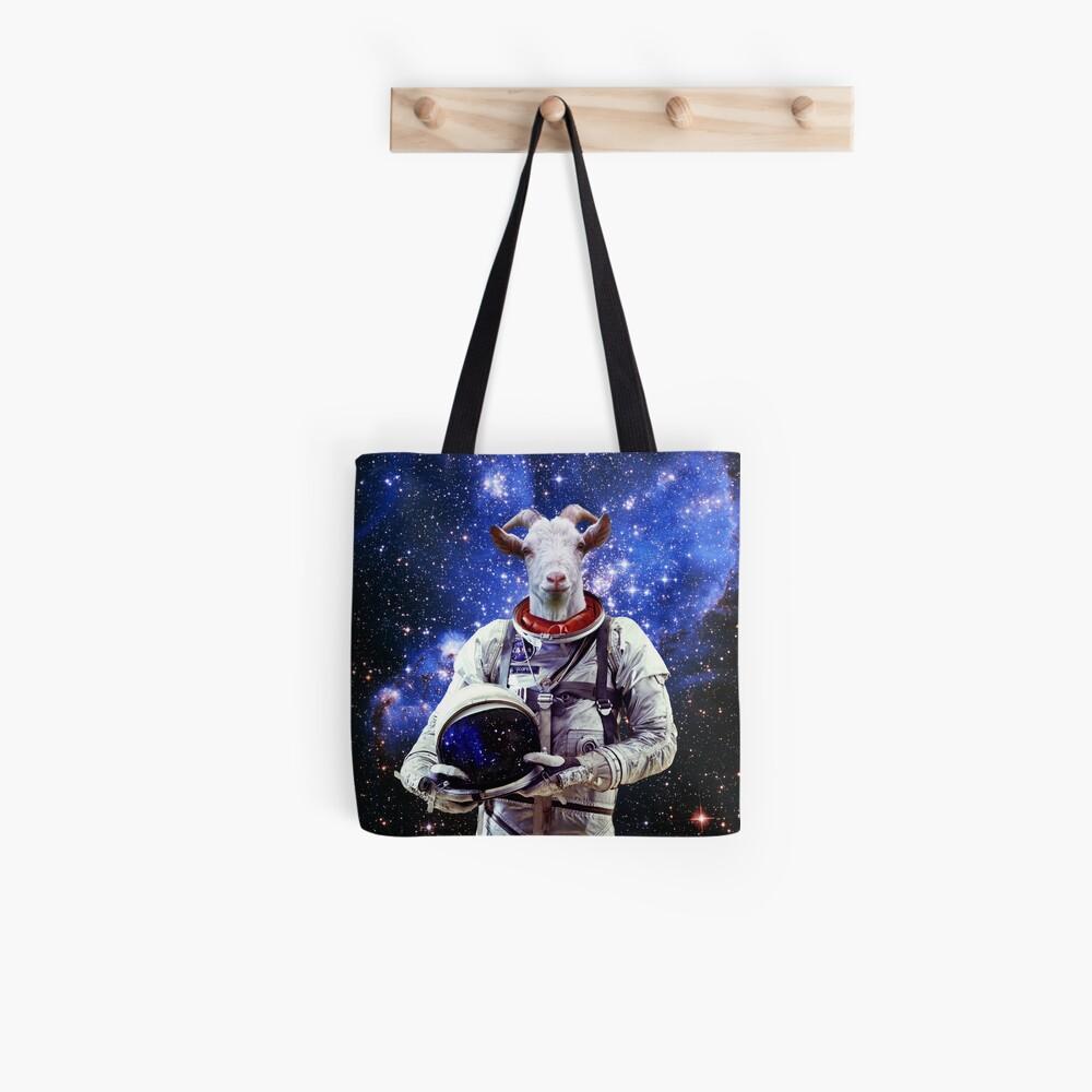 Ziege Astronaut im Weltraum Tote Bag