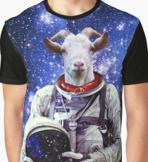 Goat Astronaut In Space Graphic T-Shirt
