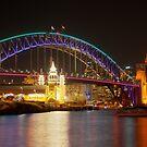 Vivid Bridge behind Luna Park by Erik Schlogl