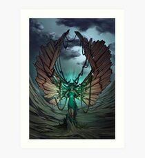 mysterious glow in the hands of a wood demon Art Print