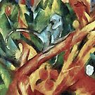 Monkey After Franz Marc, 1912 by taiche