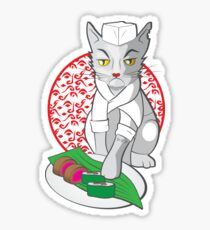 No-one but me makes the sushi (Japanese cat chef) Sticker