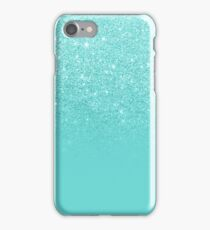 Girly faux glitter ombre teal color block iPhone Case/Skin